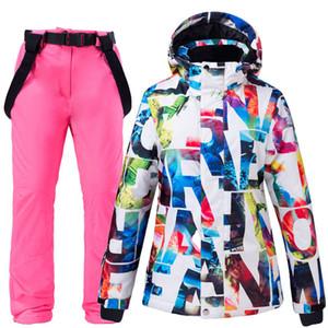 -30 Warm Women's Snow Suit Sets Waterproof Windproof Winter Outdoor Wear Snowboard Clothing Ski Costume Jackets + Strap Pants