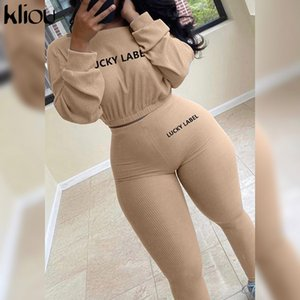 Kliou Autumn Solid Letter Embroidery Two Piece Sets Women Basic Sweatshirt+Leggings Casual Sporty Tracksuits Female Hot Corduroy 201007