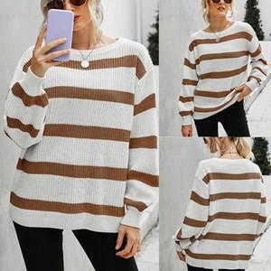 Women'S Fashion Round Neck Stitching Striped Sweater Long Sleeve Sweater