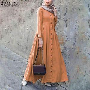 2021 Automne Boutons à manches longues Sundress Zanzea Femmes Musulman Dubai Abaya Turquie Turquie Hijab Robe Islam Vêtements Abayas Maxi Vestidos