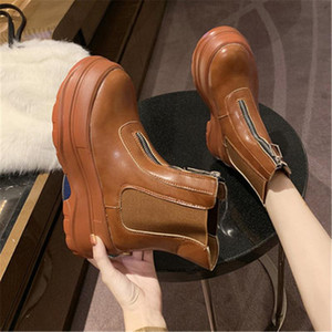 Shoes Women Autumn Fashion Motorcycle Boots 2021 British Style Platform Sneakers 7CM Heel Thick Bottom Leather Boots Woman 35-40