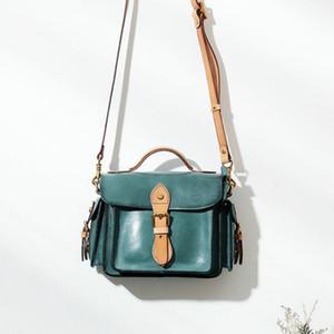 Johnature Vintage Handbag Cuero genuino 2021 Nuevo Moda Versátil Bolsa de Mujeres Primera Capa Cuero Color Sólido Bolsas De Hombro