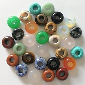 Серия 20pcs --5mm Big Hole природных драгоценных камней бусы, 6x12mm, 8x14mm Rondelle шарики, Gemstone Donut бусины, большие шарики отверстия