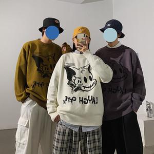 Privathinker 2020 Hiver nouveau couple Pull graphique Streetwear overs coréenne Oversize Homme Imprimé Homme Pull