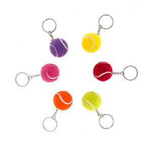 Tennis Ball Key Chains Creative Mini Tennis Pendant Car Keychain Key Ring sports Club Gifts Mix 24pcs lot wholesale