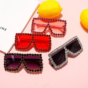 Kids Sunglasses Small Square Handmade Diamond Eyewear 2020 Summer Beach Eyewear Children Party Rhinestone Color Eyeglasses NX