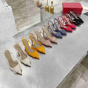 En Kaliteli Kadın Ayakkabı Yüksek Topuklu Sandalet Çıplak Renk Sivri Sandal Moda Ziyafet Stilist Ayakkabı Bayanlar Elbise Shoess Çivili Deri Ayakkabı Kutusu Ile