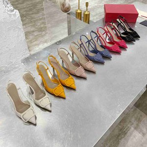 Top Quality Ladies High Tacchi alti Nude Color Sandali appuntiti Fashion Banquet Stylist Shoes Ladies Dress Shoes Shoes Studes Shoes Pelle con scatola
