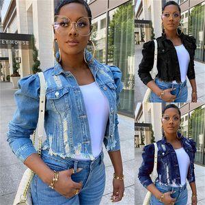Плюс размер женщин джинсовой куртки Streetwear Hip Hop Vintage Обрезанные Short Jean Coat Puff рукавом Тонкий рваные джинсы куртка S-5XL 3 цвета F92201
