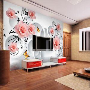 Drop Shipping Custom Size Photo 3D Stereo Custom TV Sofa Background Wallpaper Bedroom Large Vintage Flower Wallpaper Mural
