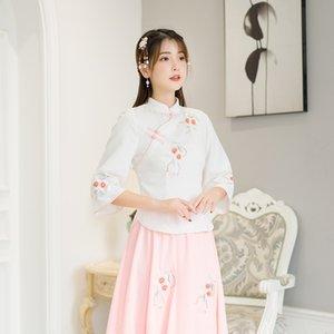 Nueva fresca pequeña mejora nacionalidad Han siete puntos de la manga nueva fresca pequeña mejora de la nacionalidad Han Top embroideryembroidery bordado grav