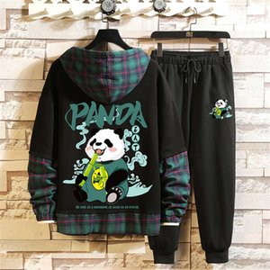 Fashion panda animal printed hooded sweater suits men's casual sportswear youth korean version of the trendy top with trousers Size S-3XL