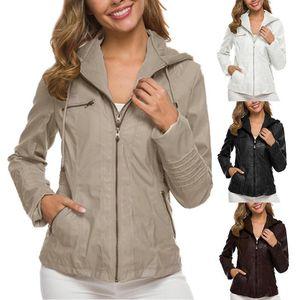 Fashion Women Autumn Faux Leather Long Sleeve Hooded Zipper Motorcycle Jacket clothing