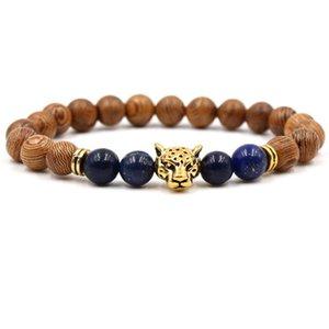 Natural Lapis Lazuli Stone Bracelet Scrub Stone Bead Bracelet Lion Leopard Head Charm Mens Lava Bracelets