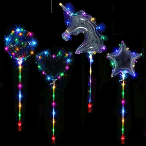 20inch Luminous Bobo Led Balloon With Sticks Birthday Party Supplies Clear LED Ballons Light Birthday Supplies Wedding Party Decor