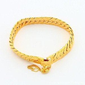 Link, Chain 24K Gold-color Bracelets Jewelry Srebrna Bransoletka Pulsera De Plata