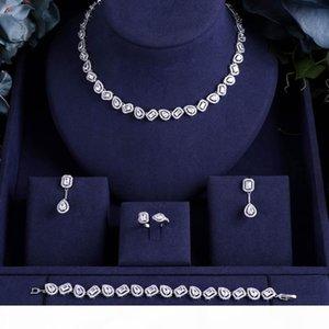 jankelly Nigeria 4pcs Bridal Zirconia Jewelry Sets For Women Party, Dubai Nigeria CZ Crystal Wedding Jewelry Sets