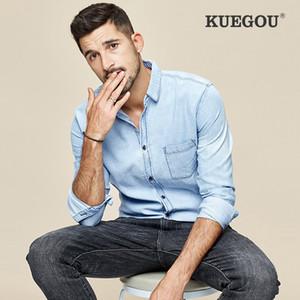 Moda Tooling Outono Azul de Marca Homens KUEGOU Pure Cotton Denim camisa de manga longa Homens Tops ZC-649