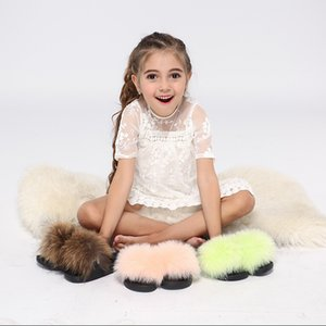 Kids Fur Slides Furry Home Slippers Fluffy Slides Indoor Summer Flat Sandals Flip Flops Brand Luxury Girls Shoes 2020 Size 24-35 Y200706