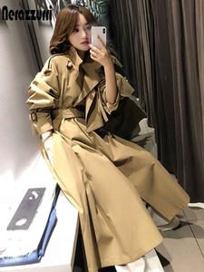 Nerazzurri White long trench coat for women raglan sleeve sashes Khaki skirted plus size clothes for women 4xl 5xl 6xl fashion 201119