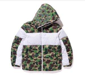 Manteau en coton pour hommes 20FW hommes d'hiver Veste camouflage mode Print 3 Stripe Lettre Tendance imprimé feuilles Veste chaude hommes Taille S-2XL