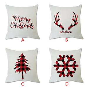 Christmas Cotton Linen Throw Pillow Case Cushion Cover Home Sofa Decor For Bedroom Skin-Friendly Pillowcover Set 912