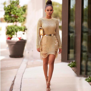 Women CrewNeck Hollow Out Mini Dress Beach Sexy Overall Cover-ups Dresses Seaside Holes Body Sheath Knitted fz3144