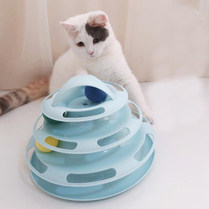 Pets Interactive Toys Colorful 3 4-Layer Plastic Tower Tracks Cat Balls Toy IQ Training Amusement Turntable Ball Pet Supplies