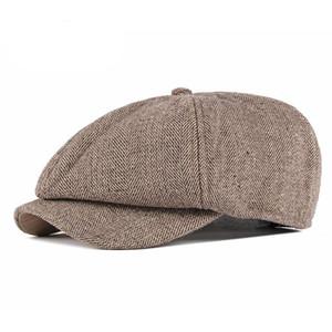[KAGYNAP] 2020 Retro Woollen Tweed Thicken Newsboy Cap Hommes Femmes Hommes Chevrons Chapeau laine Peintre hiver Octogonale Cap