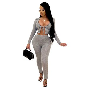 STYLISH LADY Workout 2 Piece Set Women Long Sleeve Crop Top and Long Pant Set 2020 Autumn Gray Sporty Fitness Tracksuits