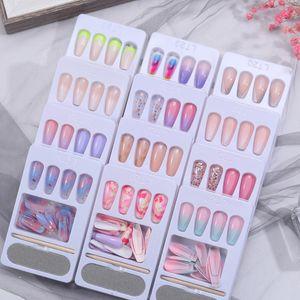 24pcs Set Detachable Long Coffin Fake Nails European Rainbow Ballerina Full Nail Art Tips Colorful Beauty Artificial False Nails