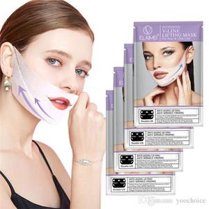 Elaimei затягивайте Ear Loop Face V-образной формы маски 3D Chin Подъемное Укрепляющий Стиль V-Line маска для лица Щеки 4шт / комплект отечность Уменьшить Dldow