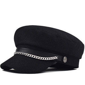 utumn Winter Chain Black Wool Military Berets for Women Female Flat Army Cap Salior Hat Girl Travel Berets Ladies Painters Cap 201009