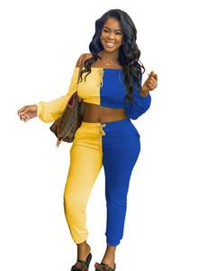 падения одежды для женщин 2 шт костюмы для женщин брюки и топ без бретелек Полной печати два частей набора Conjunto sudadera Mujer