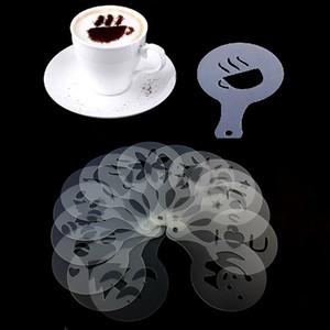 Café espuma molde spray barista stencils ferramenta de decoração soft plástico 12pcs / set café impressão flor modelo hwf2774