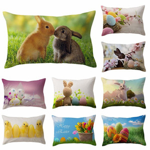 Happy Easter Rectangular throw pillow case 30*50cm Egg chick Bunny Rabbit pattern Pillowcase Sofa Car Cushion Covers gifts BWD4589