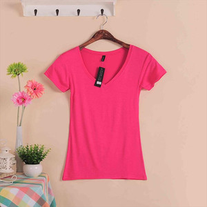 2020 Hot Sale Stretch Summer New Women T Shirts Ms Solid Color Short Sleeve tshirt Womens Fashion Cotton V neck T shirt