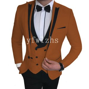Handsome One Button Groomsmen Peak Lapel Groom Tuxedos Mens Wedding Dress Man Jacket Blazer Prom Dinner suits (Jacket+Pants+Tie+Vest) W510