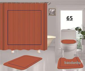 Moda Laranja New Patterns Impressão de Chuveiro Cortina Impermeável Multi-função Cortina Luxuoso Capas de Assento de WC Set para Home e Hotel