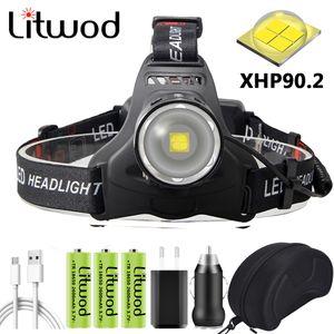 XHP90 Led Powerful Headlamp Zoom Headlight XHP50 Head Lamp Flashlight Torch 3PCS 18650 Battery Power Bank 7800mah Bulbs Litwod