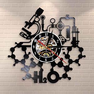 Chimica Esperimenti Orologio da parete Science Laboratory decorazioni periodica degli elementi Tabella di arte della parete Retro Vinyl Record Orologio da parete