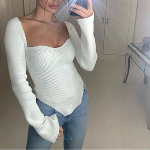 New Arrivals Fashion Women Clothes Cashmere Knits & Tees Sqaure Collar Sweater Full Sleeves Elastic High Waist Sexy Pullover Shirt 011902