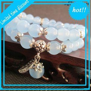 Joursneige Bracelets Bleu Perles rondes Pendentif feuilles d'argent tibétain chanceux pour femmes Bracelet en cristal Bijoux multicouches