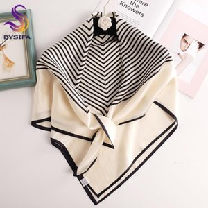 [BYSIFA] Женщины черный белый полосатый шарф Мода Новый 100% шелковый шарф перфорированная 90 * 90см Большой площади платках