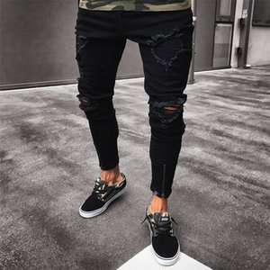 Mens Cool Designer Brand Black Jeans Ny Ripped Destroyed Stretch Slim Fit Hop Pants with Holes for Men