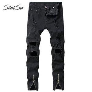 Silentsea Mens Ripped Slim Fit Motorcycle Vintage Denim Jeans Hiphop Streetwear Pants Big Size Jean Skinny Homme Mens Jeans