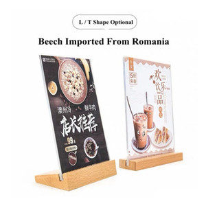 A6 Table Tent Wood Acrylic Menu Paper Sign Holder Stand Price Ticket Holder Poster Picture Photo Frame For Christmas Advertising