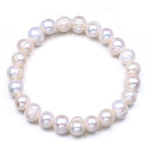 Natural Pearl Bracelet 9MM Beads Bracelets For Women Anniversary Jewelry Gift White Freshwater Pearl Jewellery
