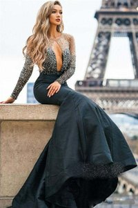 Sexy Black Mermaid Prom Dresses 2021 Long Sleeve Sequins Beads Sweep Train Evening Gowns Keyhole Neck Cocktail Party Dresses