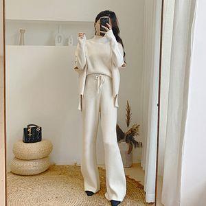 Genayooa knitted components 3pcs   124; women's sweaters and pants, wide leg knitwear and 3 sweaters, women's sportswear, 2020
